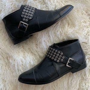 Michael Kors Eyelet Details Black Leather Boots 6M